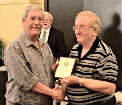 Mike Kovaleff (L) receives his SPAN Award form David Figg (R)